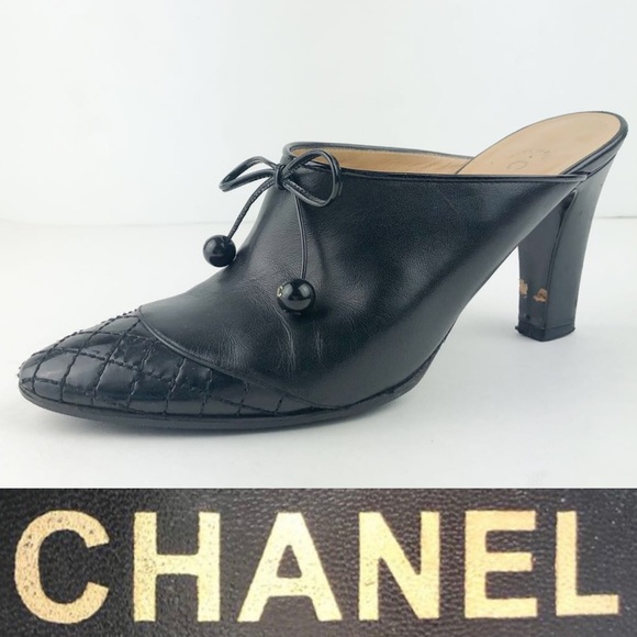 9376021a6a6 Chanel Black Leather Toe Cap Mule Size 36